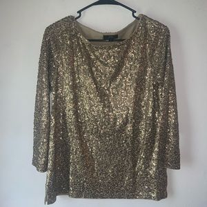 Sequined J. Crew Gold Boatneck Blouse Size S